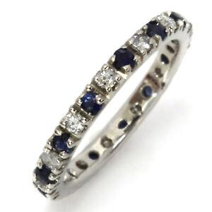 1 ctw Natural Sapphire Diamond 14k White Gold Full Eternity Alternating Ring