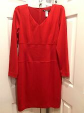 Shape FX Red Fitted Slimming Dress Long Sleeve Built In Shaper Sz 14 New NWT