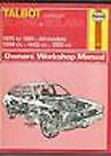 TALBOT CHRYSLER ALPINE 75-81 HAYNES WORKSHOP MANUAL
