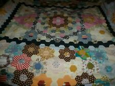 More details for vintage hand sewn patchwork large quilt with faults project