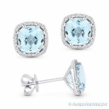 2.80 ct Cushion Cut Blue Topaz & Round Diamond 14k White Gold Halo Stud Earrings