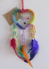 Cute Rainbow Heart Shape Beaded Dream Catcher - Length Approx 18cm