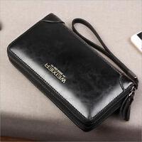 Men Handbag Clutch Bag Genuine Leather Wrist Bag Cell Phone Holder Long Wallet