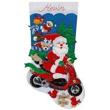 "Design Works 18"" Christmas Felt Stocking Kit ""Scooter Santa""   NEW"