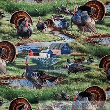 BonEful Fabric FQ Cotton Quilt Turkey Bird Thanksgiving Farm Barn Water L Scenic