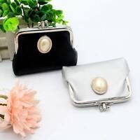 Handmade Retro Women Girls Solid Pearl Small Wallet Coin Purse Hasp Clutch Bag
