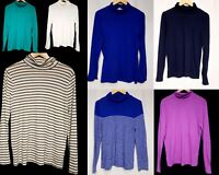 Lot of 7 J.Crew tissue Turtleneck Top long sleeve shirt sz L/XL blue stripe teal