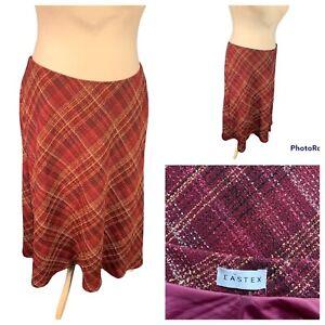 Ladies Burgundy Mix Skirt Size 18 EASTEX Elasticated  Waist Lined A Line Smart