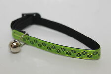 Safety Cat / Kitten High Visability Paw Print Collar & Bell (Various Colours)