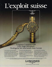 PUBLICITE ADVERTISING   1988   LONGINES  montres  CONQUEST VHP