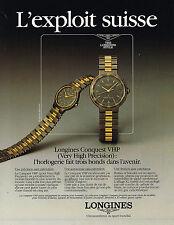 PUBLICITE ADVERTISING   1988   LONGINES  montres  CONQUEST VHP
