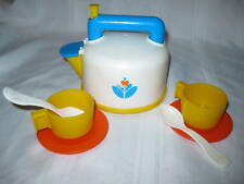 Fisher Price Fun with Food Whistling Tea Kettle Set Pot Coffee Tea Pot cup spoon