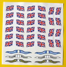 Ranura de coche Scalextric Scx 1/32nd Vintage Estilo Reino Unido Banderas Stickers Calcomanías