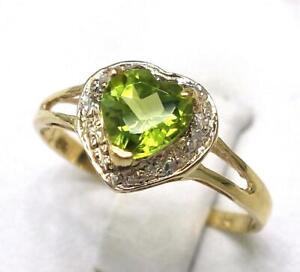 SYJEWELLERY 9CT YELLOW GOLD HEART NATURAL PERIDOT & DIAMOND RING SIZE N R1062