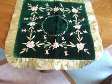 """BEAUTIFUL ANTIQUE HAND EMBROIDERED, GREEN VELVET & SILK EDGED COVER 19 X 19"""""""