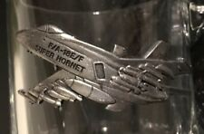 US NAVY F/A-18E/F SUPER HORNET 3-D Pewter Logo Clear Glass Coffee Cup Mug