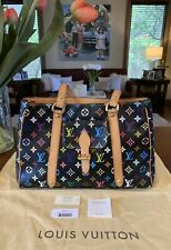 Authentic Louis Vuitton Black Multicolore Canvas Leather Aurelia MM Shoulder Bag