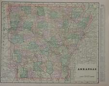1900 Arkansas Antique Color Atlas Map* Indexed with Population .119 Yrs-Old!