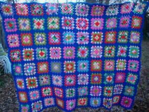 "Vintage Crochet Afghan Multi-Color Granny Squares Throw Lap Blanket 46"" X 60"