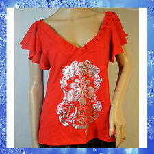 DEREON Red Open Back V-Neck Silver Graphic Shirt Top * Size 1X PLUS SIZE