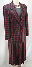Vintage 80S CHRISTIAN DIOR Skirt Suit Set Pleated Skirt Jacket Blazer SZ 12 NEW