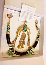 New STELLA & DOT ODEON PENDANT NECKLACE Gold Fringe Leather Costume Jewelry NIB