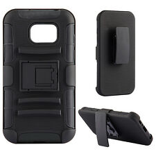 For Samsung Galaxy S7 - Black Hybrid Hard & Soft Case Cover Holster + Belt Clip