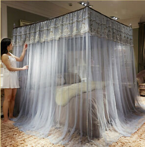 Mosquito net set bed curtain lace bed netting canopy with frames Queen King size