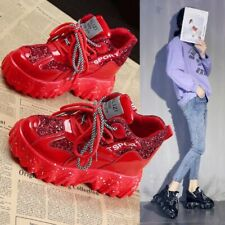 Ankle Boots Women Patent Leather Fashion Sneakers Platform Wedge High Heels Punk
