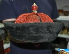 """18"""" China Qing dynasty silk gem Royal Officer hat Cap Headgear Chapeau Headdress"""