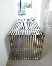 Bauhaus stainless steel bench with acrylic distance pieces. Length 140 cm.
