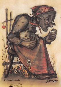 Kunstkarte: Hummel - Hexe mit Katze