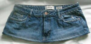 "8"" Length  Blue  Distressed Denim  Micro Mini Skirt Size 14"