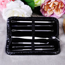 Hot 7Pcs Blackhead Pimple Blemish Comedone Acne Extractor Remover Tools Set Kit