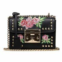 Embroidery Rose Shoulder Bag Women Roses Handbags Tote Flaps Designer PU Leather