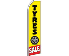 TYRES SALE Car Garage Tires Repair Swooper Banner Feather Flutter Tall Curved To