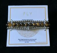 FLY Natural Stone Bead Silver Stretch Bracelet New