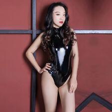 Women Metallic Shiny Zipper Catsuit Bodysuit Wet Look Latex Jumpsuit Clubwear