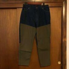 Vintage Women's LL Bean Canvas Patch Denim Jeans 16 Olive Green