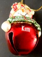 Kim Personalized Red Jingle Bell Snowman Lady Christmas Ornament No Date
