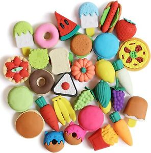 Food Erasers Pack Of 30 Kids Classroom Fun Gift Puzzle Take Apart Collection New