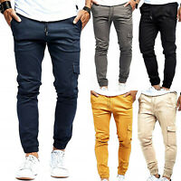 Mens Slim Cuffed Chino Sweat Pants Cargo Work Trousers Gym Joggers Army Combat