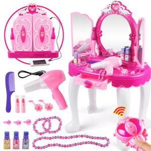 Xmas Gift For Girls Kids Play Vanity Makeup Set with Lights Table Mirror Stool