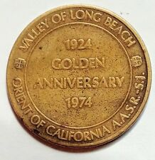 Valley of Long Beach, Golden Anniversary 1924 to 1974 Commerative Masonic Coin