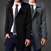 Men's Lapel double-breasted wool coat korean slim fit wool blend jacket hip long