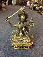 B1622 China Wenshu Bodhisattva Buddha GuanYin Löwen Manjushri Schutz H19B13T7