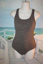JUST MY SIZE CHLORINE RESISTANT CRINKLE SWIMSUIT 10 MISSES GRAY WATER AEROBICS