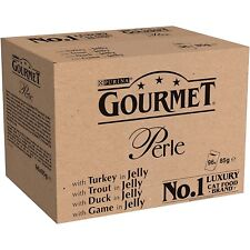 Gourmet Perle Country Medley in Jelly Turkey Trout Duck Game 96 Pouches 85g NEW