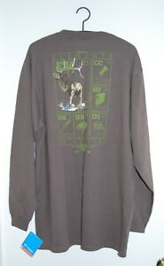 NWT Columbia PHG Mens Big & Tall Brown Elk Hunting Graphic LS T-Shirt sz LT