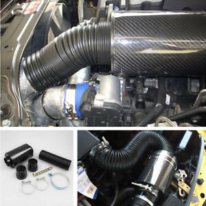 Cold Air Intake Kit Carbon Fiber Air filter High Flow Enhance Horsepower& Torque
